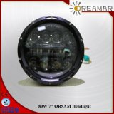 "80W 7"" Wrangler /LED Headlight Hi/Low Beam with Halo Ring"
