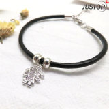 Costume Fashion Jewelry Black Bracelet with a Small Girl Pendant