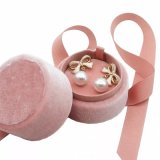 Sweet High Quality Small Velvet Round Earring Box Jewelry Gift with Ribbon