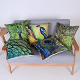 Digital Print Decorative Cushion/Pillow with Peacock Pattern (MX-68)
