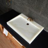 Modern Rectangular White Onyx Vessel Sinks