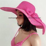 100% Straw Hat, Fashion Floppy Style with Ribbon Decoration
