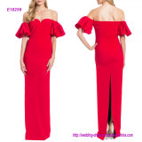 Sweetheart Neckline Evening Dress with off-The-Shoulder Flutter Sleeves