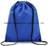 Blue Promotional Lightweight Waterproof 210d Nylon Drawstring Back Sack Pack