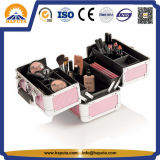 Trendy Aluminium Case Pink Train Case with Handle (HB-3206)