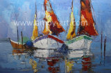 Handmade Boat and Sea Oil Painting for Home Decor
