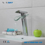 Nickel Brushed Bathroom Faucet Basin Mixer with Glass Spout