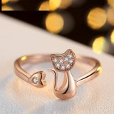 Cubic Zirconia Crystal Inlaid Cute Animal Cat Ring for Women
