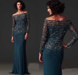 Blue Prom Dress Beading Mother of The Bride Dresses Luxury Formal Gowns Evening Dresses Mt2016