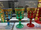 Tetro Court Style Luxury Electroplated Colorful Glass Craft Whole Set of Cups with Promotion Price