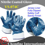 "Jersey Glove with Blue Nitrile Sandy Full Coating & Safety Cuff/ En388: 4221/ Size 9"", 10"", 11"" (YS-074C)"