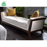 Ivory Color Relax Fabric Upholstered Wooden Bench Seat with Hardwood Frame