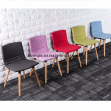 Different Colors of Fabric Type Backrest Writting Chair with 4 Solid Wooden Legs