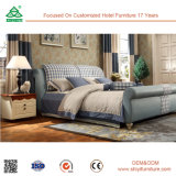 High Grade Leather Headboard Latest Wooden Bed for Home Bedroom