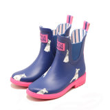 Adult Sizing Natural Rubber Ankle Elastic Bands Gore Flamingo Print High Heel Galoshes Overshoes Rain Boot