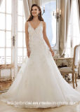 V-Neck Bridal Dress Vestido A-Line Lace Wedding Gowns W1223