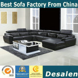 U Shape Black Color Genuine Leather Sofa (301)