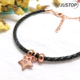 Vintage Star Pendant Leather Band Bracelet with Rose Gold Plated Plating