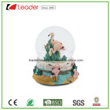 Polyresin Craft Gift 80mm Water Globe with Flamingo Figurines for Souvenir and Promotional Gifts