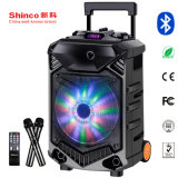 Rechargeable Trolley Bluetooth Battery Speaker Box with USB SD Wireless Mic and Light