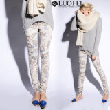 Women Fashion Floral Print Cotton Elastine Jeans Pant