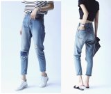 Knee Hole Denim Pants Jeans Clothing for Girl (JC1355)
