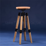 Round Industrial Wood Metal Adjustable Bar Stool (SP-MC049)