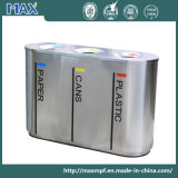 Top Selling Metal Indoor 3 Compartment Customized Stainless Steel Recycling Waste Bins for Airport