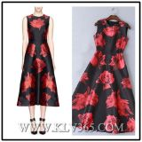 Elelgant Women Lady Flower Printed Long Evening Dress