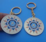 Golden Finish Round Oman Keychain National Day Gifts