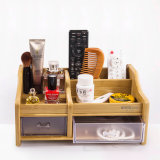 Office Stationery Wooden Multi-Function Pen Storage Holder with Drawer
