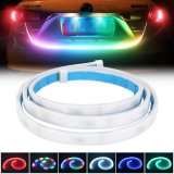 Car Trunk Strip Light 48inch LED Rear Tailgate Light Dynamic Streamer Reverse Brake Driving Turn Signal Flow 12V Waterproof 60PCS LED RGB Strips Light