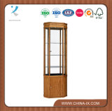 Customized Oak Tower Display Cabinet with Lock and Adjustable Shelf