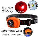 Motion Sensor CREE LED Headlamp Adjustable Strip Waterproof Head Lamp Light 3*AAA Headlight