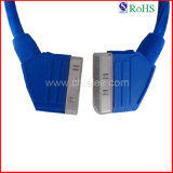100% Tested Blue PVC Jacket Male to Male Scart to Scart Cable (SY088)