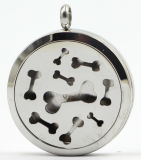 Bone 30mm Rd Stainles Steel Perfume Diffuer Locket Pendant