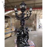 Outdoor France Style Garden Metal Art Children Statue Street Light Pole Cast Iron Lamp Post for Sale