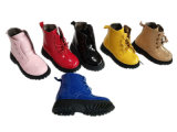 Child Baby Girl Kids Shining Leather Casual Heel Boot Shoes