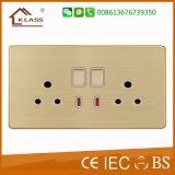 Double 15A 250V British Switched Socket