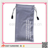 Soft Touch 100%Microfiber Eyewear Drawstring Bags/Pouch with Bead and Logo Printing