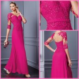Fuchsia Chiffon Lace Formal Party Dresses 3/4 Sleeves Hollow Back Evening Dress A29764