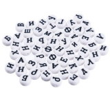 Mixed White Round Letters Alphabet Acrylic Jewelry Accessories for DIY