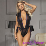 in Stock Manufacture Navy Sash Eyelash Ribbon Chiffon Blue Sexy Lingerie