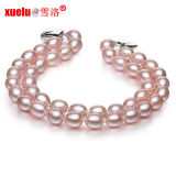6-7mm Double Strands Oval Shape Lavender Natural Cultured Pearl Bracelet, Pearl Jewelry