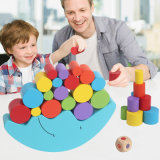 Wooden Balance Moon Stacking Block Game Colors Shapes Learning Baby Educational Toy