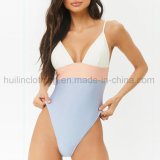 Women Sexy Color Block V-Neck Fashion One-Piece Swimsuits