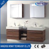 New Design Melamine Bathroom Double Sink Vanity with Mirror Cabinet