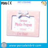 Home Decoration Pink Polka DOT Cute Ceramic Baby Photo Frame