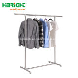 Clothing Store Decoration Chrome Finish Style Rack Single Rail Garment Rack