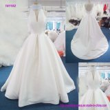 161102 Wholesale V-Neck Halter Backless A Line Wedding Dress with Sweep Train